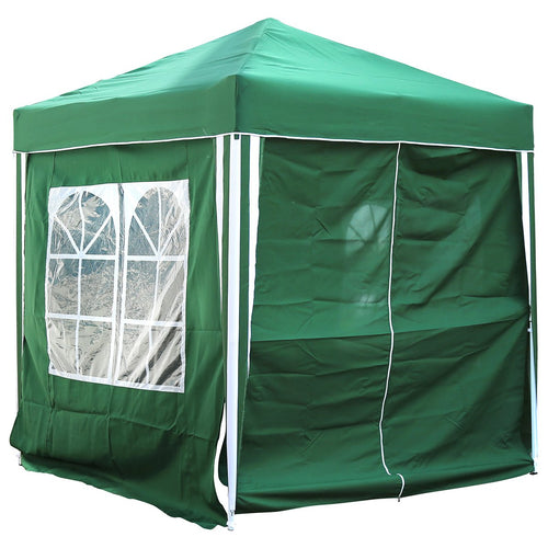 Charles Bentley 2 x 2m Pop Up Gazebo with Side Walls & Windows - Green