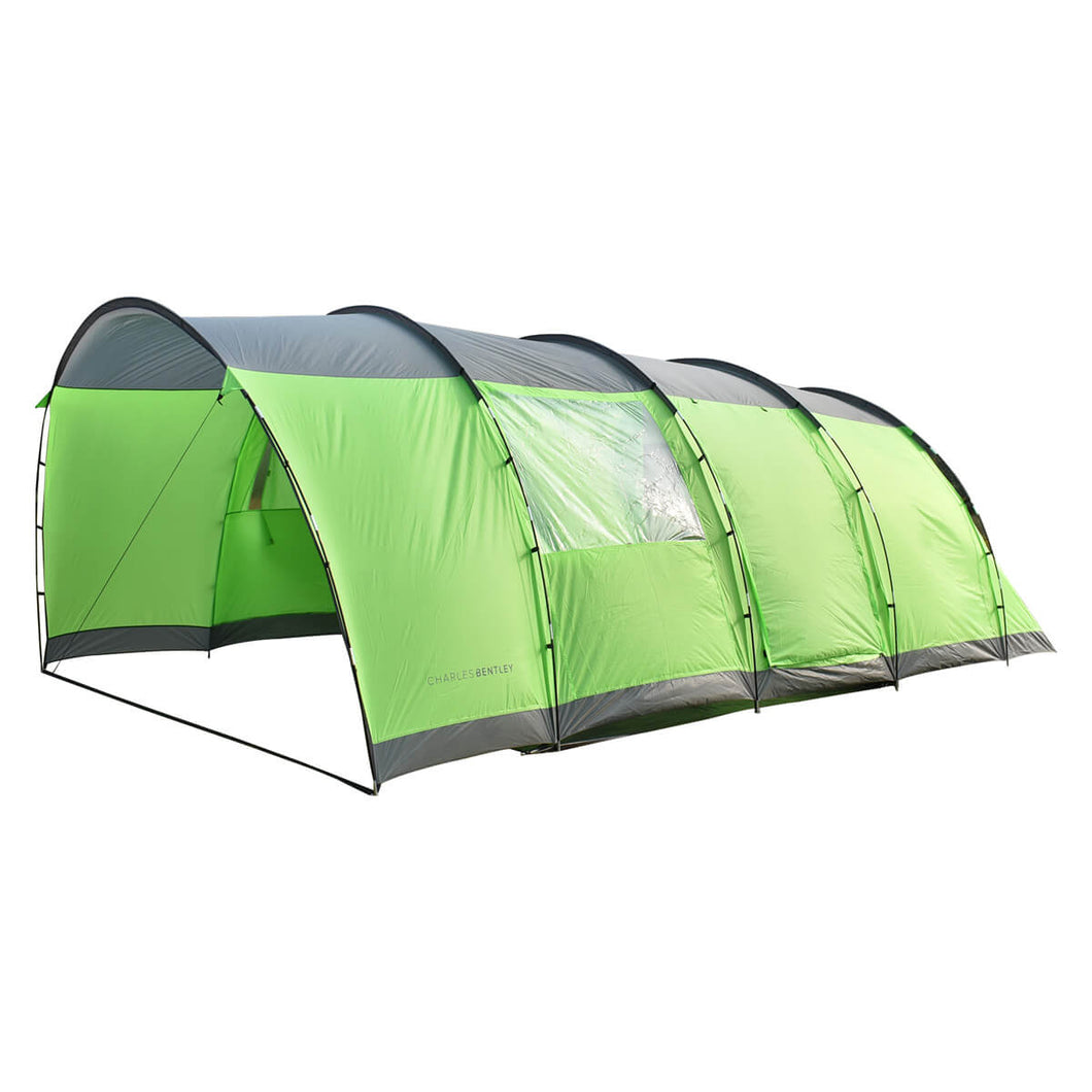 Charles Bentley 6 Person Camping Tunnel Tent – Green with Grey Trim