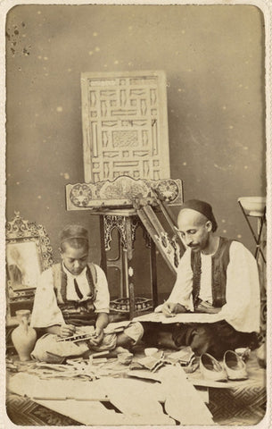 Scene of learning, Algeria; circa 1870. 'Gothic' style album (1860-1880) consisting of portraits and scenes of Algeria in postcard format made by photographers Jean Geiser (1848-1923) and Claude-Joseph Doorman (1841-?).