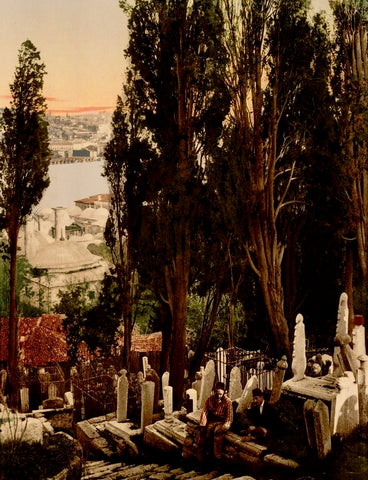 "This photochrome print of the Uyüp (now Eyüp) Cemetery in Constantinople (present-day Istanbul) is part of ""Views of People and Sites in Turkey"" from the catalog of the Detroit Publishing Company (1905). Eyüp takes its name from Abū Ayyūb al-Anṣārī (died circa 672), the standard bearer and companion of the Prophet Muhammad, whose tomb is located here, together with a mosque built in his honor. The 1911 edition of Baedeker's The Mediterranean, seaports and sea routes: Handbook for Travellers describes how ""from the mosque, up the hill-side to the N.E., extends the picturesque Cemetery, with its venerable cypresses. A path ascends to the mosque, past a monastery (Tekkeh) of the dancing dervishes, to the top, where we have a splendid view of both banks of the Golden Horn."""