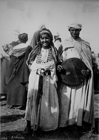 Couple performing the Aïdouz (Ahidous),  a traditional dance in many Berber tribes, in Jebel Habri (Middle Atlas)