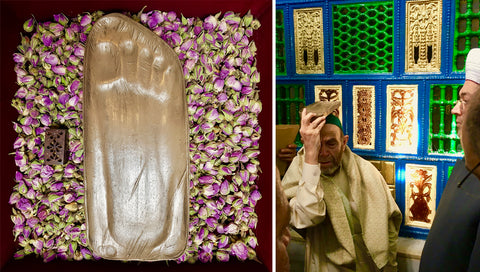 Left: Blessed replica Footprint of Prophet Muhammad ﷺ sold at Rumi's Garden. For every purchase you make with this 0% profit project an exact same Footprint package is donated. Right: A donated Blessed replica Footprint of Prophet Muhammad ﷺto the Awzai mosque in Beirut. The man carrying the replica in the photo is a one of the awliya of Beirut.