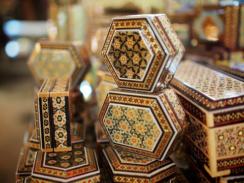 Marquetry & Inlay boxes sold at www.RumisGarden.co.uk