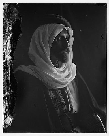 Portrait of a bedouin man; circa 1898 to 1914