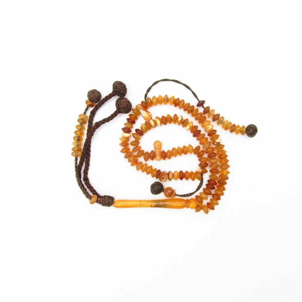 Mutton Horn Prayer Bead with Disc Shaped Bead