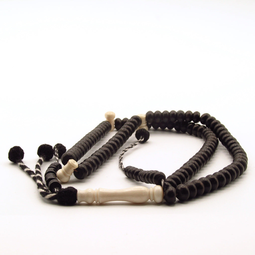 Detail of ebony and camel ivory islamic prayer beads