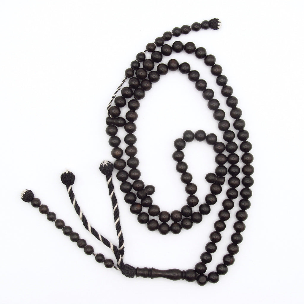 100 bead Rosary made from ebony with west african tassels