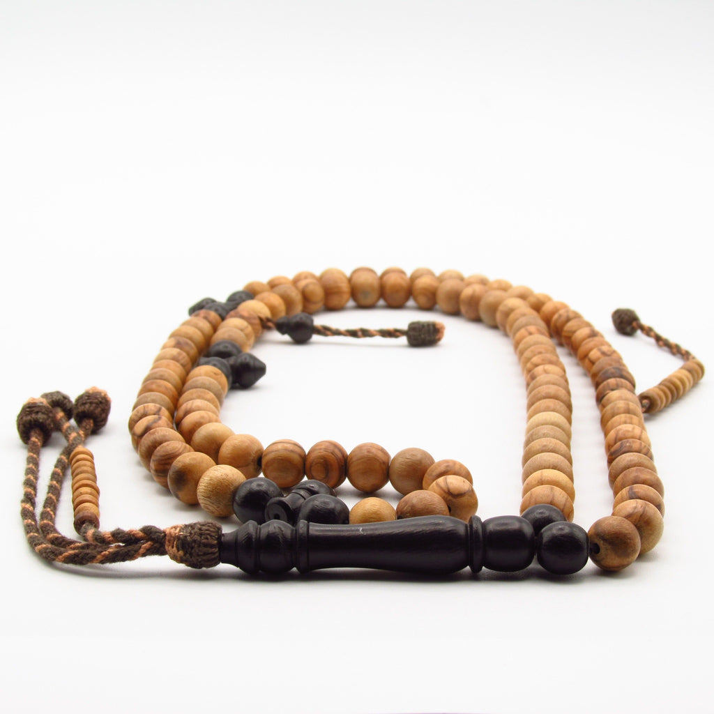 Ebony & olive tasbih with golden brown tassels