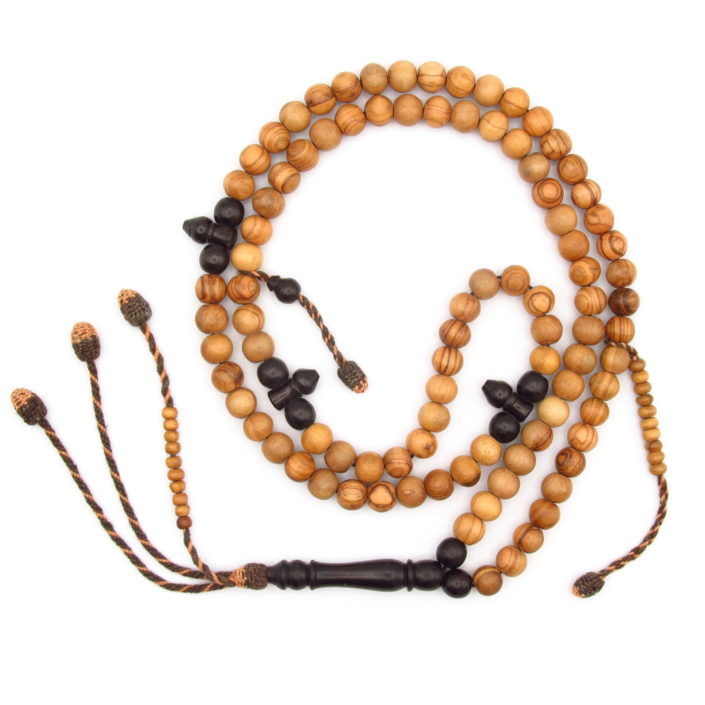 Ebony and olive prayer bead with golden brown tassel