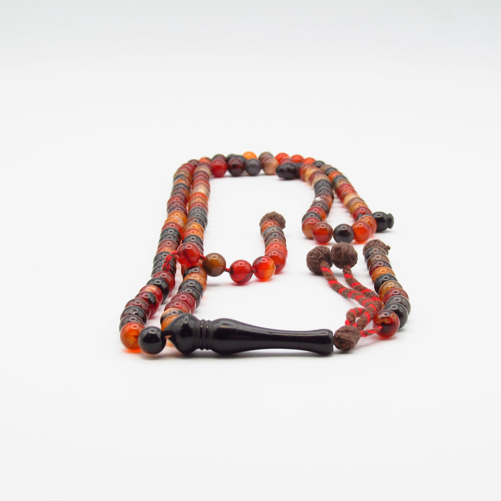 Agate beads with Black Coral Alif Subha