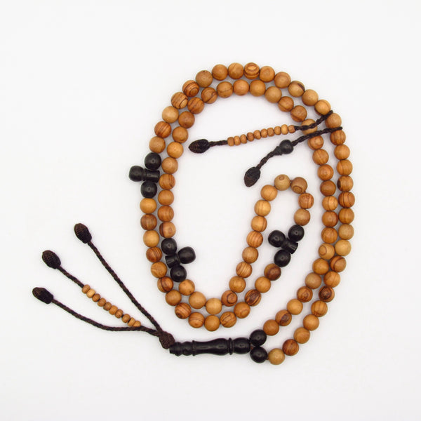 Large ebony and olive tasbih with brown and black tassel