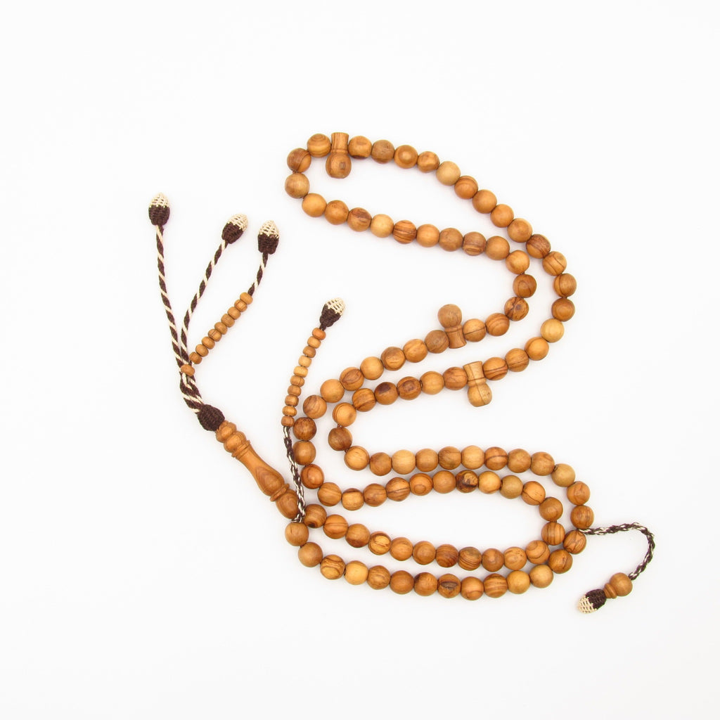 Round Olive tasbih brown and white tassels