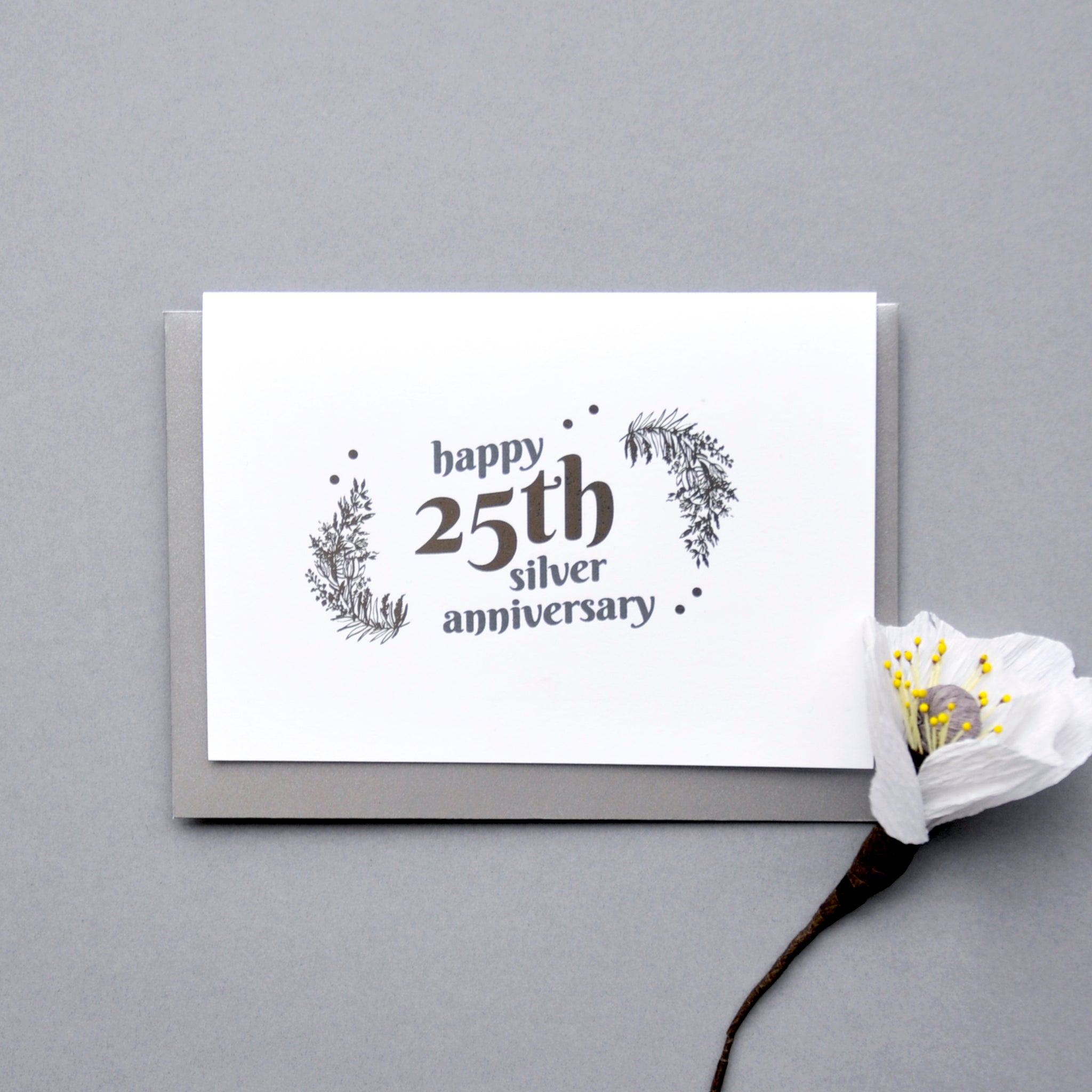 25th Wedding Anniversary Card with Silver Foil - Ant Design Gifts