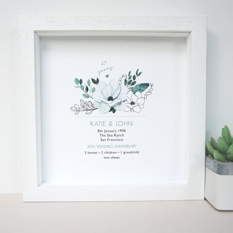 www.antdesigngifts.co.uk Personalised 25th wedding anniversary print in frame with silver tone flower design.