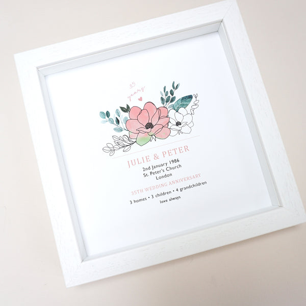 www.antdesigngifts.co.uk 35th anniversary print with a coral and jade flower design. Features names, wedding date, place and town of wedding, number of homes, children and grandchildren.