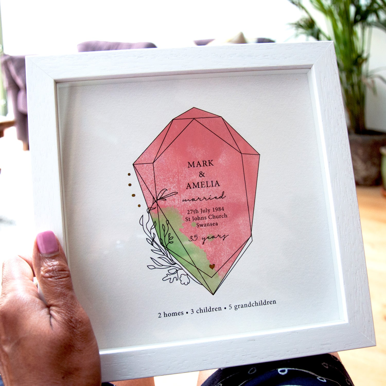 antdesigngifts.co.uk 35th anniversary gift for parents with coral and jade gemstone and gold foil accents. Personalised with names, date of wedding, place of wedding and family details