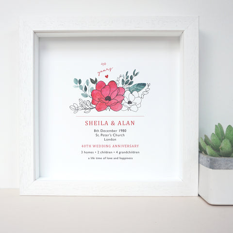 www.antdesigngifts.co.uk Print with a ruby red flower design for 40th anniversary. Features names, wedding date, place and town of wedding, number of homes, children and grandchildren.