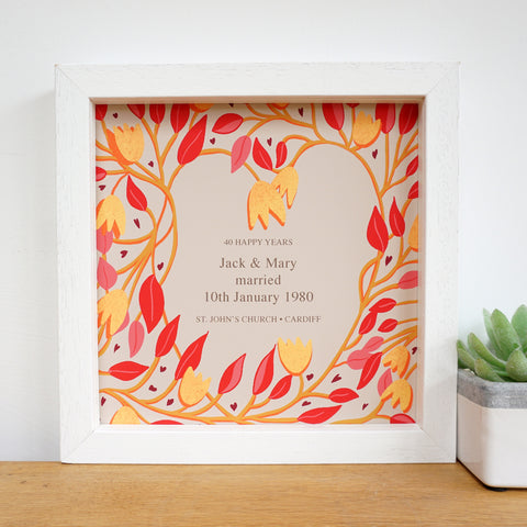 antdesigngifts.co.uk 40th anniversary gift with red leaf design. Includes personalised text of names of couple, date of wedding and place and town of wedding.