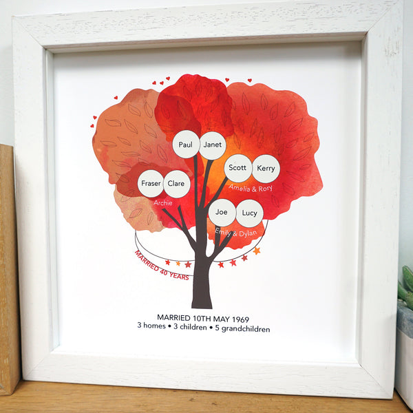 40th wedding anniversary family tree art print personalised with family names, children and grandchildren. 3 generations in one design. Includes wedding date and how many homes, children and grandchildren. Ruby red in colour with a white frame.