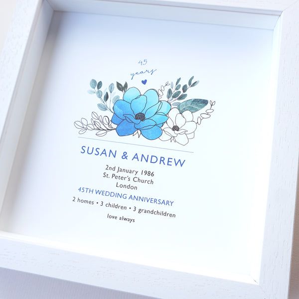www.antdesigngifts.co.uk 45th anniversary print with a sapphire blue flower design. Features names, wedding date, place and town of wedding, number of homes, children and grandchildren.