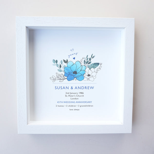 www.antdesigngifts.co.uk Print with a sapphire blue flower design for 45th anniversary. Features names, wedding date, place and town of wedding, number of homes, children and grandchildren.