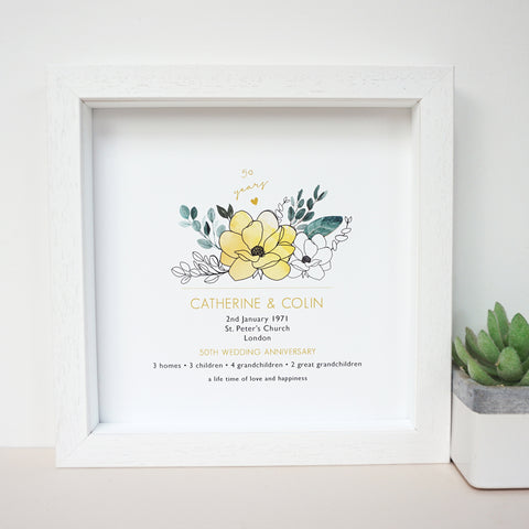 www.antdesigngifts.co.uk 50th anniversary print with a golden yellow flower design. Features names, wedding date, place and town of wedding, number of homes, children and grandchildren.