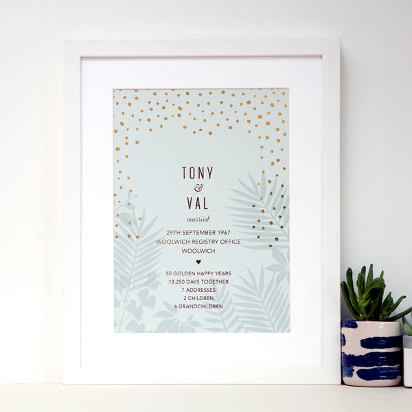 antdesigngifts.co.uk Golden anniversary art print with names of couple, date, place and town of wedding together with 5 interesting facts about their life together. With gold foil pattern