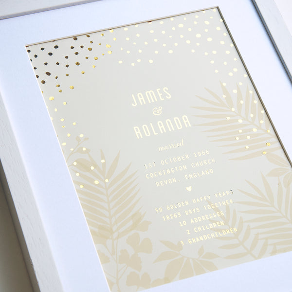 antdesigngifts.co.uk 50th golden anniversary art print with names of couple, date, place and town of wedding together with 5 interesting facts about their life together. With gold foil pattern