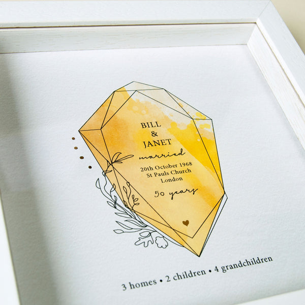 antdesigngifts.co.uk 50th anniversary gift  for parents with golden gemstone and gold foil accents. Personalised with names, date of wedding, place of wedding and family details