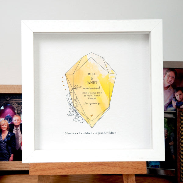 antdesigngifts.co.uk 50th wedding anniversary gift with golden gemstone and gold foil accents. Personalised with names, date of wedding, place of wedding and family details