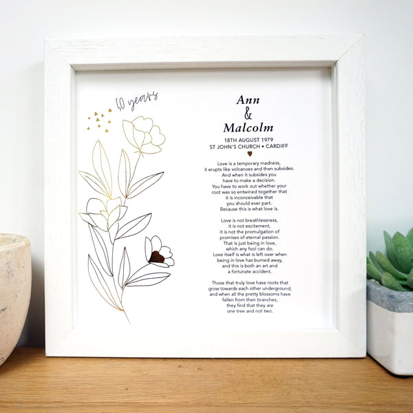 50th Anniversary Gift for Parents - Ant Design Gifts