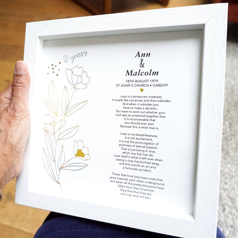 antdesigngifts.co.uk 50th golden anniversary gift in gold foil. Personalised with names of couple, date, venue and city of wedding. Includes a poem or wedding vow of your own choice.