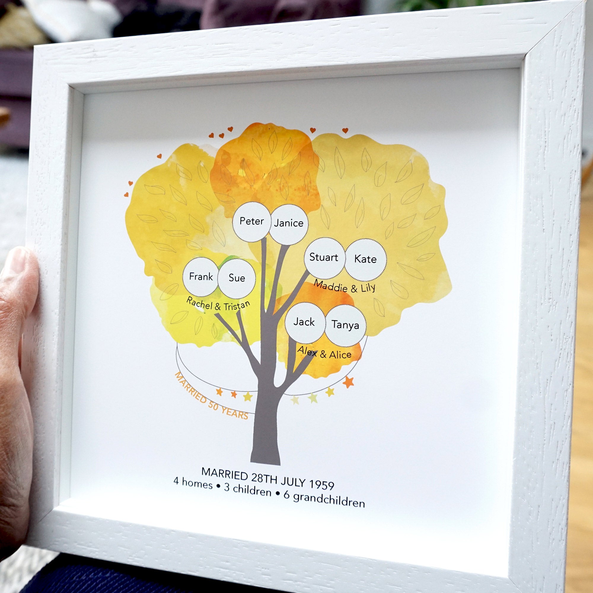 Personalised 50th Anniversary Family Tree - Ant Design Gifts