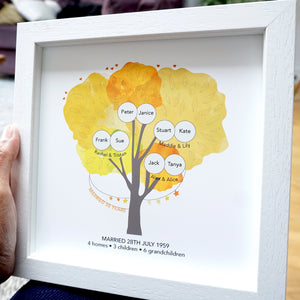 50th anniversary family tree print personalised with family names, children and grandchildren. 3 generations in one design. Includes wedding date and how many homes, children and grandchildren. Golden colours with a white frame.