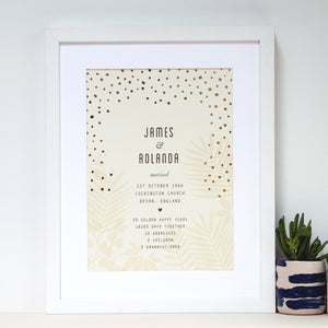 antdesigngifts.co.uk 50th anniversary art print with names of couple, date, place and town of wedding together with 5 interesting facts about their life together. With gold foil pattern