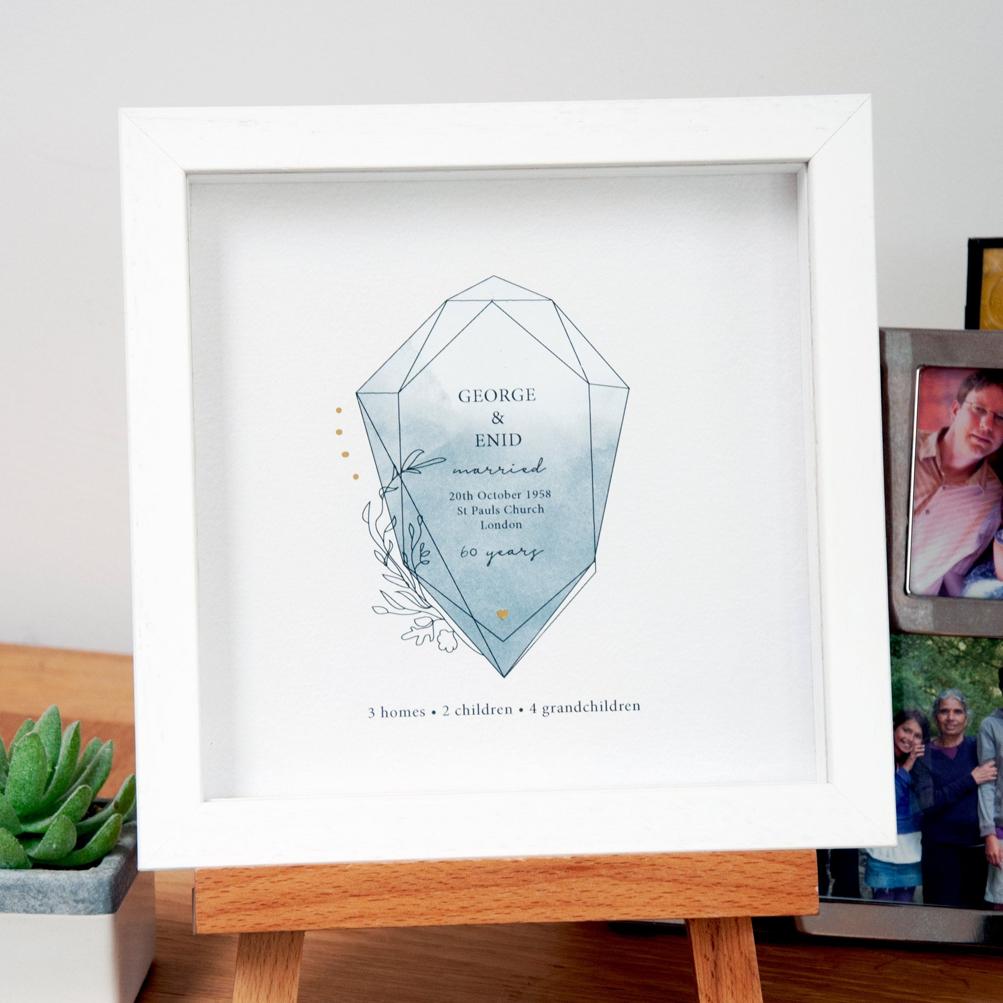 antdesigngifts.co.uk 60th anniversary gift personalised with couples names, date, place and city of wedding with number of homes, children and grandchildren. In grey colour with gold accents