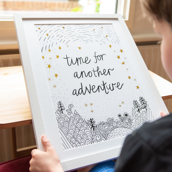 antdesigngifts.co.uk monochrome and gold art print with the quote 'time for another adventure' with a hand drawn illustration of mountains, trees, sky and stars. Nursery wall art and art for childs bedroom