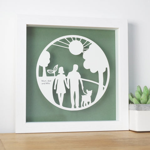 www.antdesigngifts.co.uk Dog Lovers Gift - a papercut featuring a man and woman with their dog walking in the outdoors.  Framed in a white floating frame