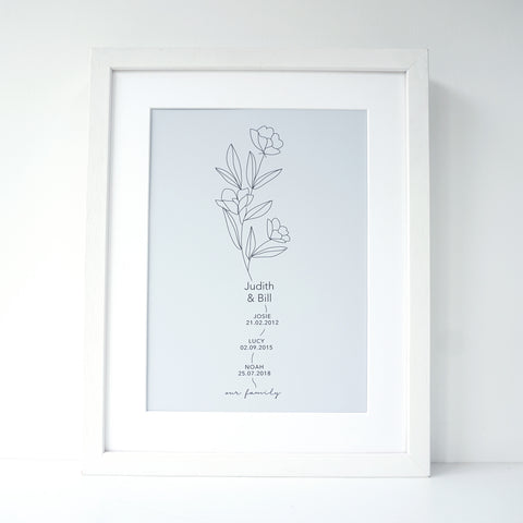 www.antdesigngifts.co.uk Personalised family tree print featuring names of family members and birthday of children. 6 pastel colour choice. Flower in black line illustration