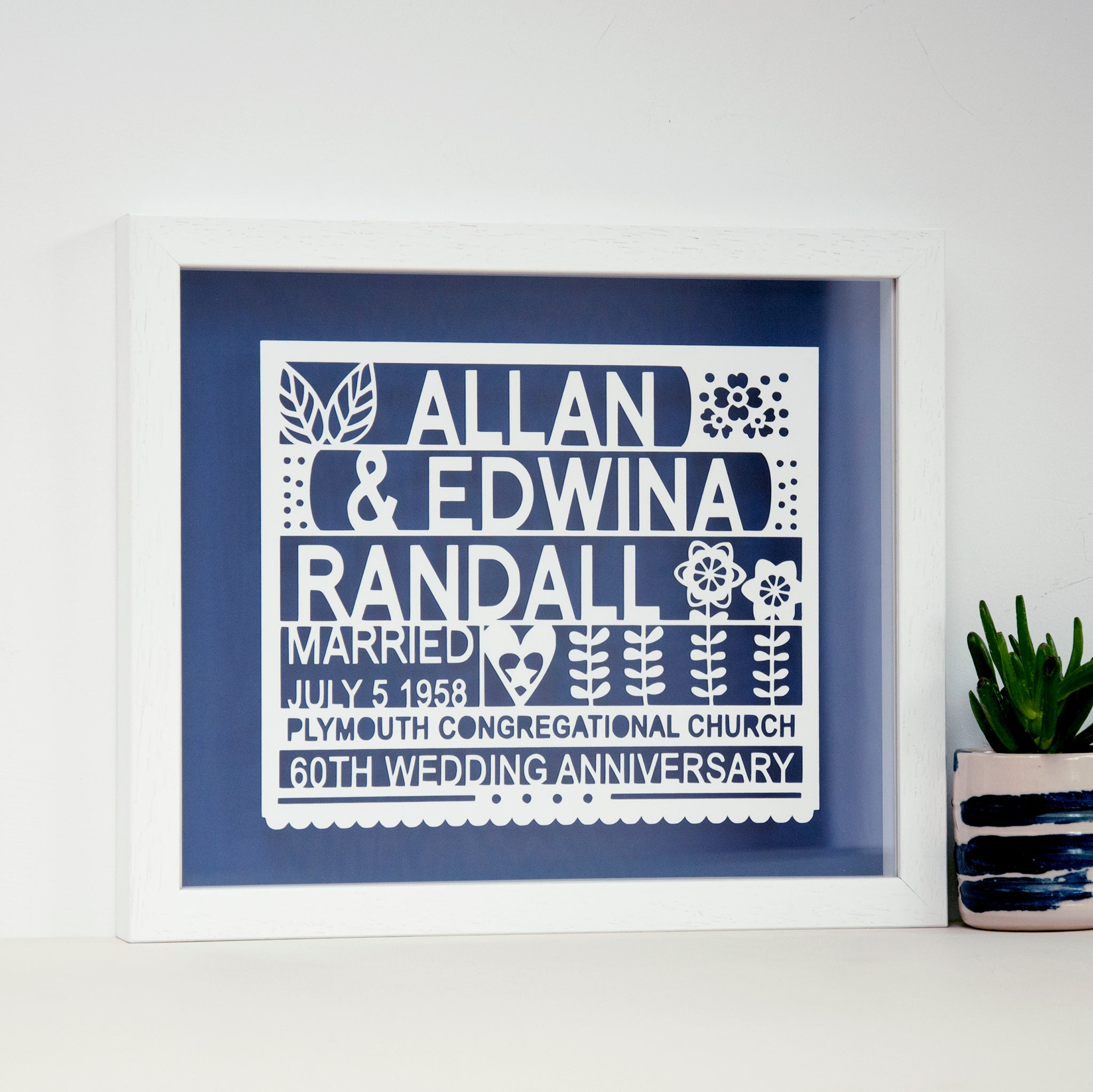 Personalised 60th Diamond Wedding Anniversary Gift - Ant Design Gifts