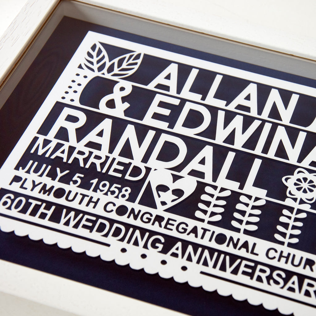 Personalised 60th Diamond Wedding Anniversary Gift Ant Design Gifts