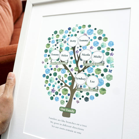 Personalised Grandparent Family Tree print for 3 generations