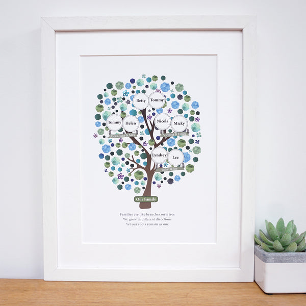 Personalised Grandparent Family Tree print for 3 generations - Ant Design Gifts