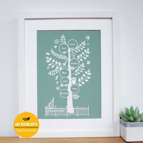 Personalised Grandchildren Family Tree Gift Digital Download