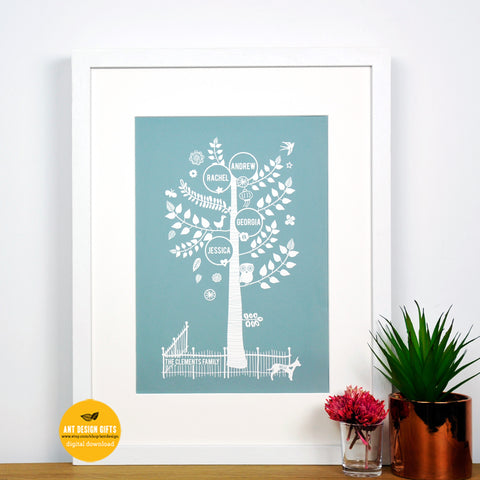 Personalised Family tree print digital download