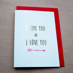 Valentines Day Card with Gold Foil