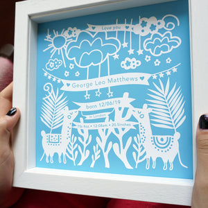 Personalised new baby print with llama design. Includes babys name, birth weight, time of birth, length of baby and place of birth. This version is blue.