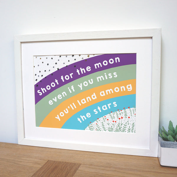 Shoot for the moon land among the stars rainbow print with gold foil stars and purple, green, orange and blue rainbow