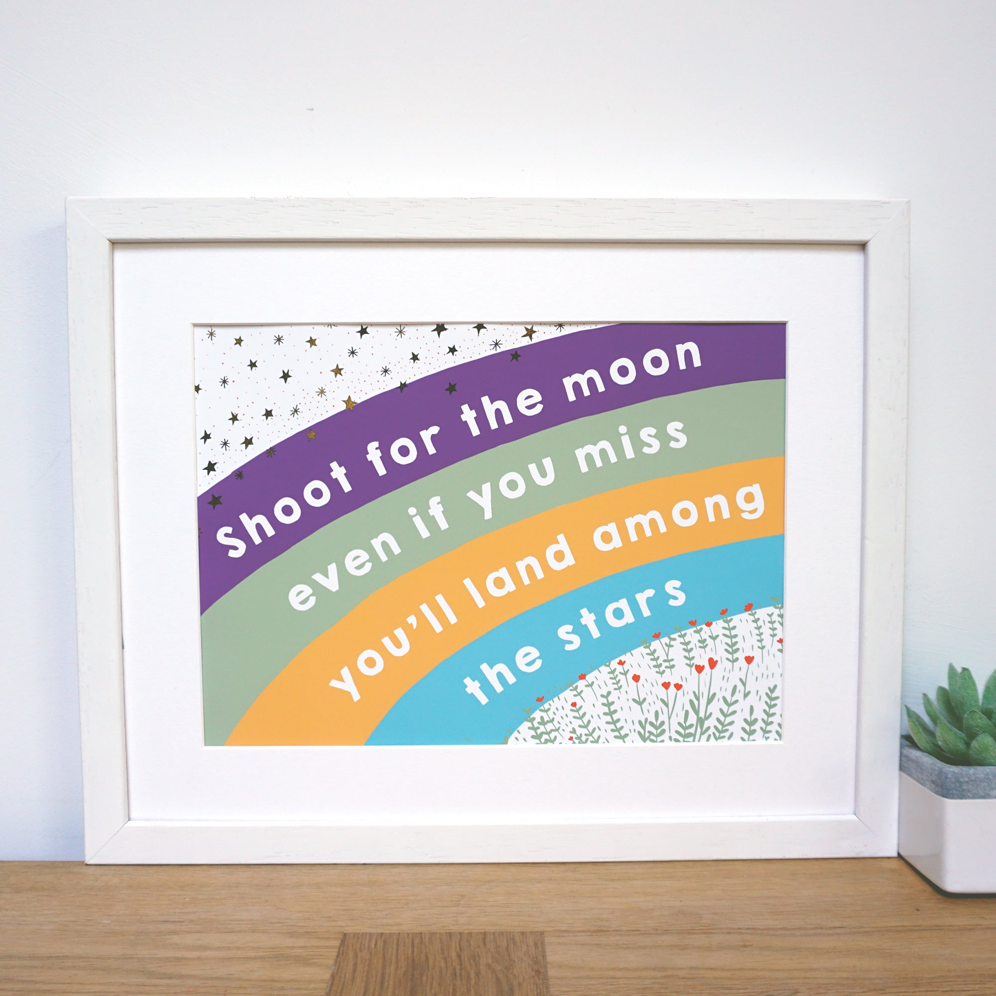 Shoot for the moon land among the stars rainbow print with gold foil stars