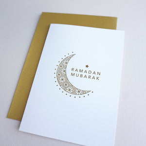 antdesigngifts.co.uk Ramadan Mubarak greeting card with crescent moon and star. Hand printed in gold foil. Supplied with a luxury gold envelope. Blank inside
